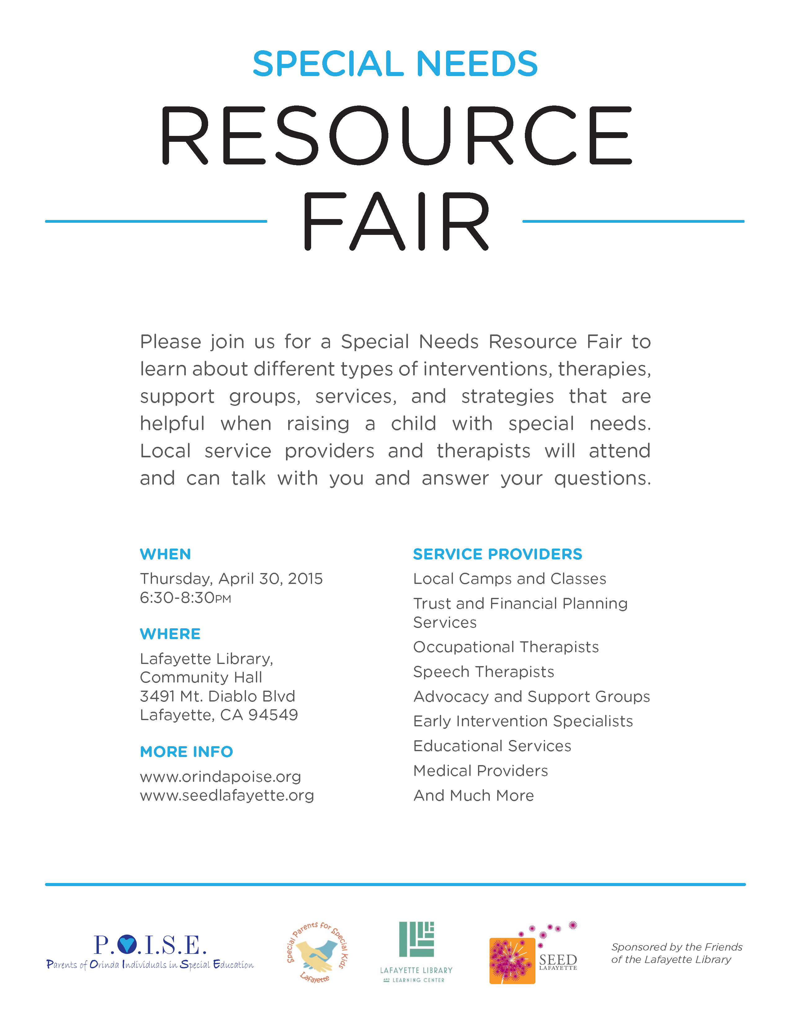 Orinda POISE and SEED Lafayette Resource Fair for Special Needs – 4/30, 6:30pm