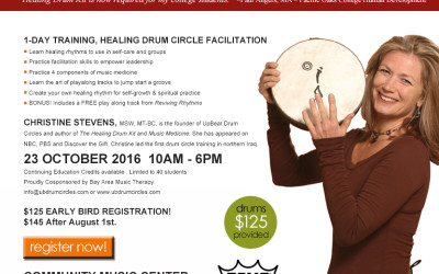 Clinical Applications of Group Drumming with Christine Stevens on Oct. 23rd. in San Francisco